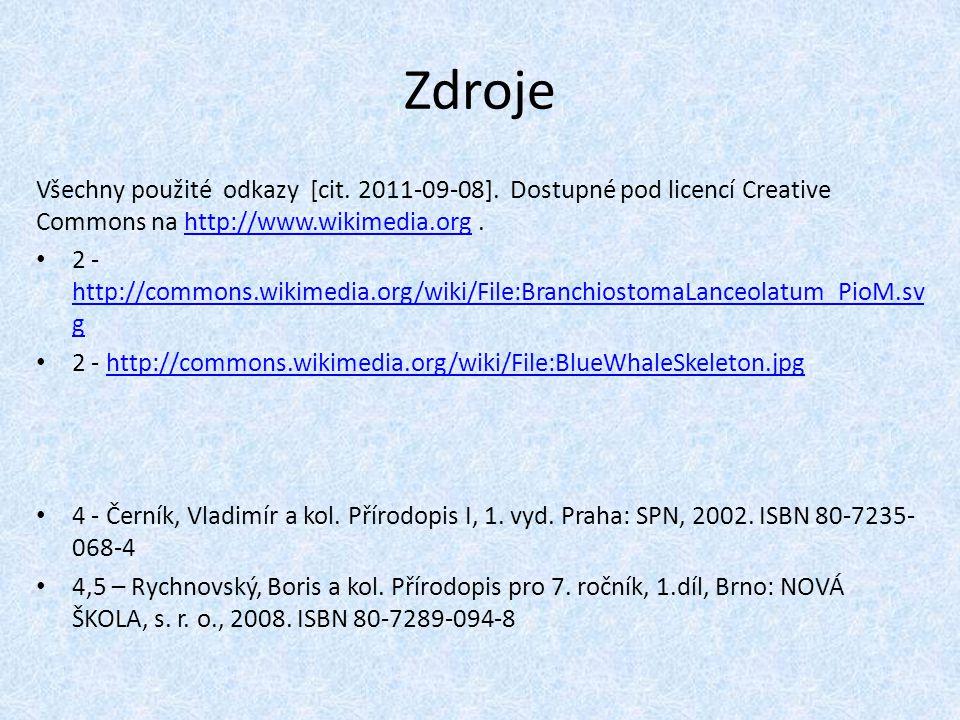Zdroje Všechny použité odkazy [cit. 2011-09-08]. Dostupné pod licencí Creative Commons na http://www.wikimedia.org .